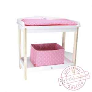 Armoire en bois v tements poup e rose de new classic toys for Table a langer rose