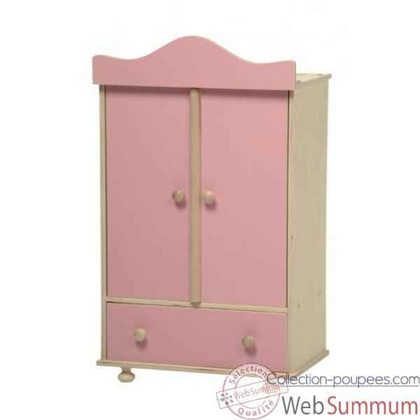 armoire en bois v tements poup e rose de new classic toys. Black Bedroom Furniture Sets. Home Design Ideas