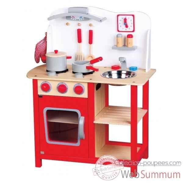 Cuisine En Bois Blanche Et Rouge 1055 De New Classic Toys Dans Dinette
