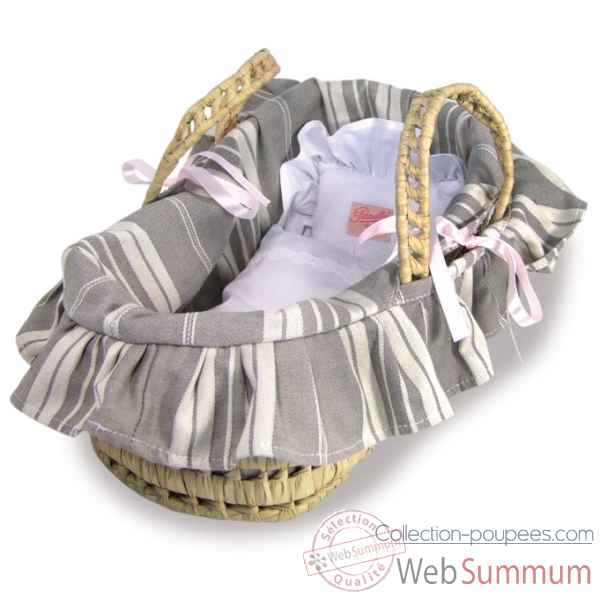 Couffin 28 cm garnissage rayures, reversible Petitcollin -800097