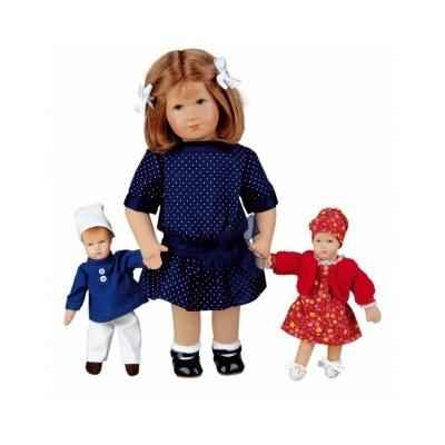 Poupee de collection Kathe Kruse Hanne avec 2 poupees miniatures -32901